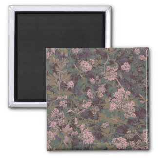 Flowers, leafs, and camouflage square magnet