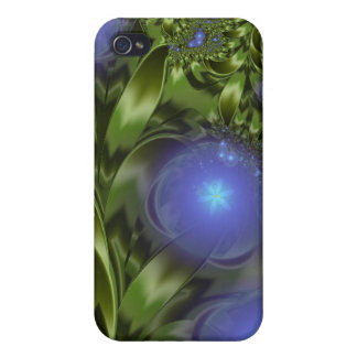 Flowers Leaves Abstract Blue Green Fractal iPhone 4/4S Covers