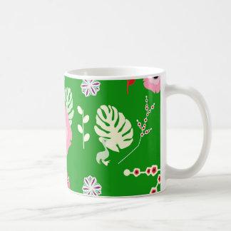 Flowers, leaves and little pelicans coffee mug