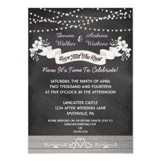 Flowers & Lights Chalkboard After Wedding Invite
