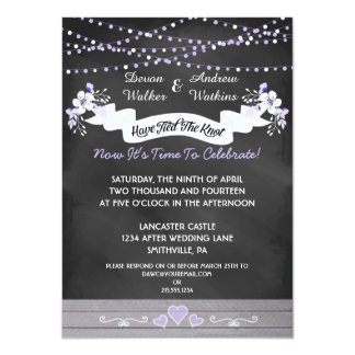 Flowers & Lights Chalkboard Post Wedding Invite