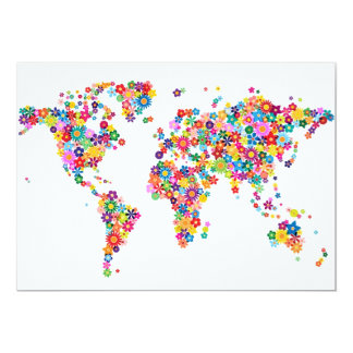 Flowers Map of the World Map 13 Cm X 18 Cm Invitation Card