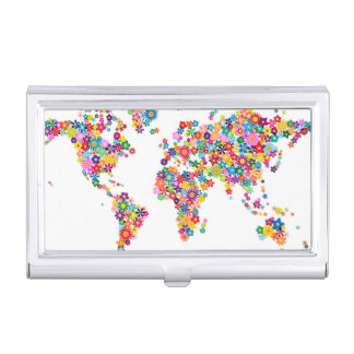 Flowers Map of the World Map Business Card Holder
