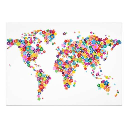 Flowers Map of the World Map Personalised Invites