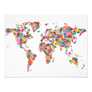 Flowers Map of the World Map Photographic Print