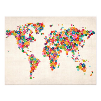 Flowers Map of the World Map Photo Print