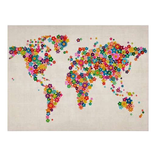 Flowers Map of the World Map Print