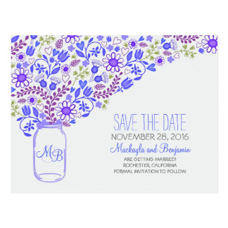Flowers mason jar blue save the date postcards