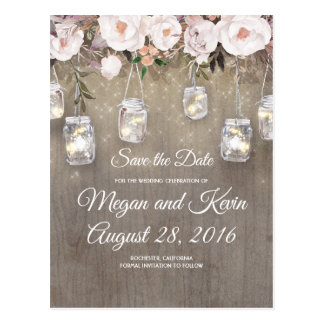 Flowers Mason Jar Lights Rustic Save the Date Postcard