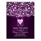 Flowers mason jar purple rustic save the date postcard