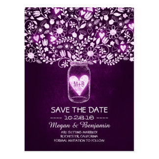 Flowers mason jar purple rustic save the date postcard