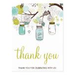 FLOWERS & MASON JARS WEDDING THANK YOU POSTCARD