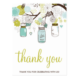 FLOWERS & MASON JARS WEDDING THANK YOU POSTCARD