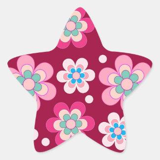 Flowers meadow pattern star sticker