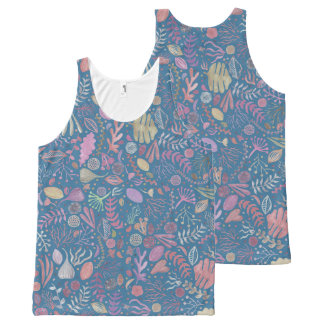 Flowers multicoloured smooth watercolors All-Over print tank top