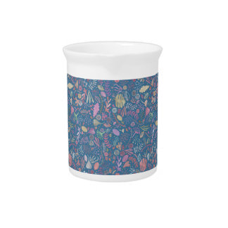 Flowers multicoloured smooth watercolors beverage pitchers