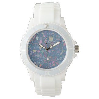 Flowers multicoloured smooth watercolors watch