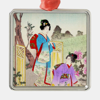 Flowers of Floating World, Viewing a Peony Garden Silver-Colored Square Decoration
