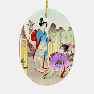 Flowers of Floating World, Viewing a Peony Garden Ceramic Oval Decoration