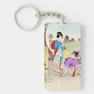 Flowers of Floating World, Viewing a Peony Garden Double-Sided Rectangular Acrylic Key Ring