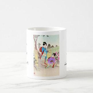 Flowers of Floating World, Viewing a Peony Garden Basic White Mug