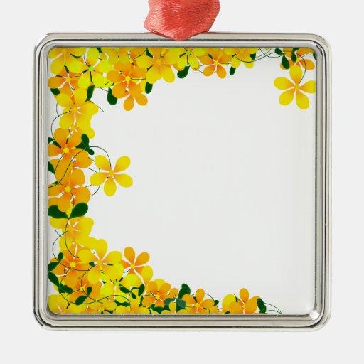 Flowers of Orange & Yellow Border Ornaments