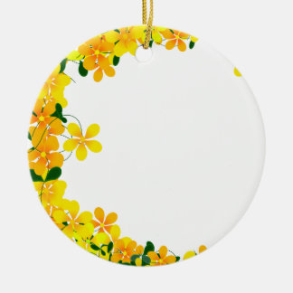 Flowers of Orange & Yellow Border Christmas Tree Ornaments