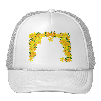 Flowers of Orange Yellow Border Mesh Hats