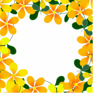 Flowers of Orange Yellow Border Photo Sculptures