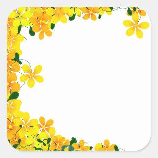 Flowers of Orange Yellow Border Sticker