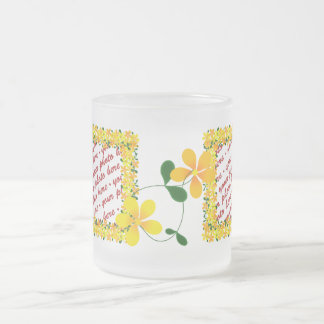 Flowers of Orange & Yellow Frame Frosted Glass Coffee Mug