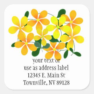 Flowers of Orange Yellow Stickers