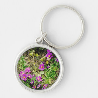 Flowers of Purple Silver-Colored Round Key Ring