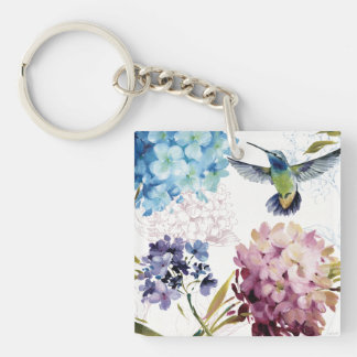 Flowers of Spring Double-Sided Square Acrylic Key Ring