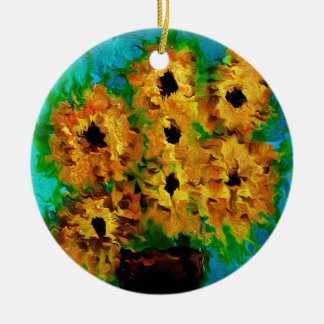 Flowers of summer round ceramic decoration