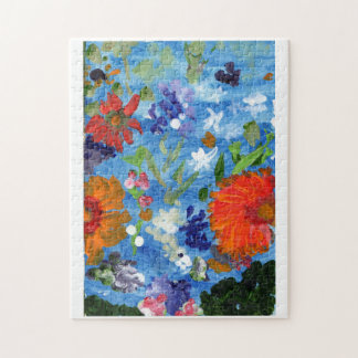 Flowers on a blue background jigsaw puzzle