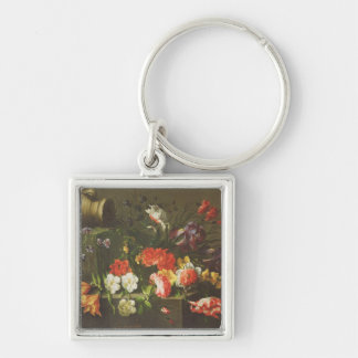 Flowers on a Ledge, 1665 Silver-Colored Square Key Ring