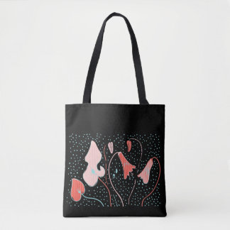 Flowers on black background tote bag