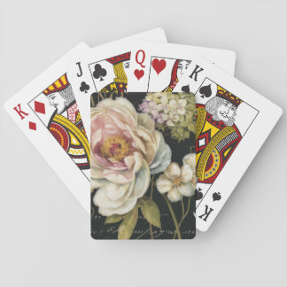 Flowers on Black Poker Deck