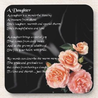 Flowers on Black Silk - Daughter poem Coaster