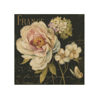 Flowers on Black Wood Print
