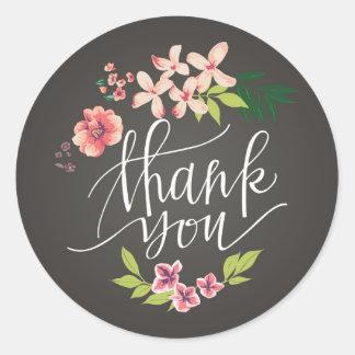 Flowers on Chalkboard Thank You Sticker
