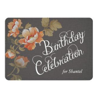 Flowers on Charcoal Linen Custom Birthday Invite