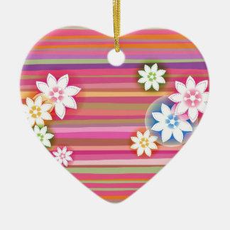 Flowers On Colorful Stripe Floral Graphic Design Ceramic Heart Decoration