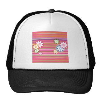 Flowers On Colorful Stripe Floral Graphic Design Mesh Hats