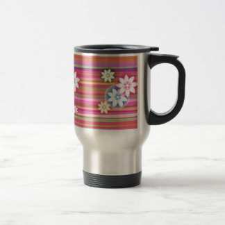 Flowers On Colorful Stripe Floral Graphic Design Coffee Mug