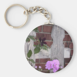 Flowers on Fence Basic Round Button Key Ring