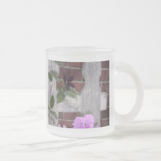 Flowers on Fence Frosted Glass Mug