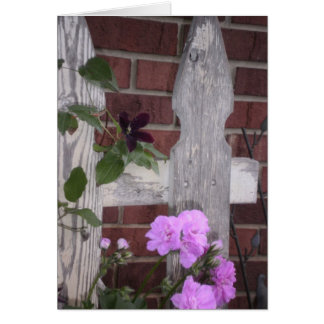 Flowers on Fence Greeting Card