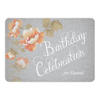 Flowers on Gray Linen Custom Birthday Invite